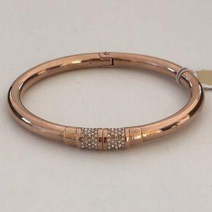 Nwt Michael Kors Rose Gold Pave Bangle Bracelet